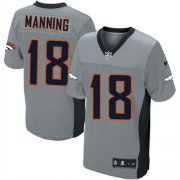 Wholesale Cheap Nike Broncos #18 Peyton Manning Grey Shadow Youth Stitched NFL Elite Jersey