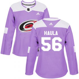 Wholesale Cheap Adidas Hurricanes #56 Erik Haula Purple Authentic Fights Cancer Women\'s Stitched NHL Jersey