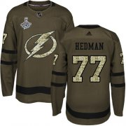 Cheap Adidas Lightning #77 Victor Hedman Green Salute to Service Youth 2020 Stanley Cup Champions Stitched NHL Jersey
