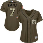Wholesale Yankees #7 Mickey Mantle Green Salute to Service Women's Stitched Baseball Jersey