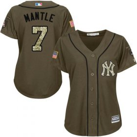 Wholesale Cheap Yankees #7 Mickey Mantle Green Salute to Service Women\'s Stitched MLB Jersey