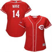 Wholesale Cheap Reds #14 Pete Rose Red Alternate Women's Stitched MLB Jersey