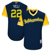"Wholesale Cheap Brewers #22 Christian Yelich Navy ""Yeli"" Players Weekend Authentic Stitched MLB Jersey"