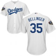 Wholesale Cheap Dodgers #35 Cody Bellinger White Cool Base 2018 World Series Stitched Youth MLB Jersey