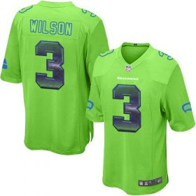Wholesale Cheap Nike Seahawks #3 Russell Wilson Green Alternate Men\'s Stitched NFL Limited Strobe Jersey