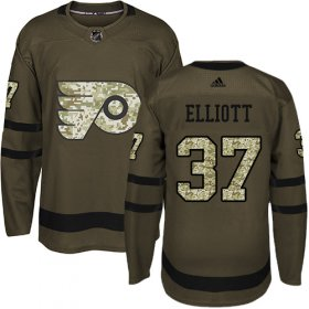 Wholesale Cheap Adidas Flyers #37 Brian Elliott Green Salute to Service Stitched Youth NHL Jersey