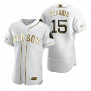 Wholesale Cheap Boston Red Sox #15 Dustin Pedroia White Nike Men's Authentic Golden Edition MLB Jersey