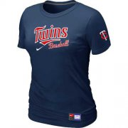Wholesale Cheap Women's Minnesota Twins Nike Short Sleeve Practice MLB T-Shirt Midnight Blue