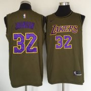 Wholesale Cheap Los Angeles Lakers #32 Magic Johnson Olive Nike Swingman Jersey