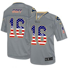 Wholesale Cheap Nike Rams #16 Jared Goff Lights Out Grey Men\'s Stitched NFL Elite USA Flag Fashion Jersey