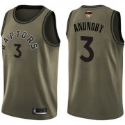 Wholesale Cheap Raptors #3 OG Anunoby Green Salute to Service 2019 Finals Bound Basketball Swingman Jersey