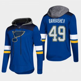 Wholesale Cheap Blues #49 Ivan Barbashev Blue 2018 Pullover Platinum Hoodie