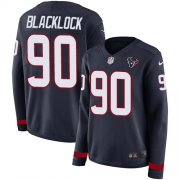 Wholesale Cheap Nike Texans #90 Ross Blacklock Navy Blue Team Color Women's Stitched NFL Limited Therma Long Sleeve Jersey