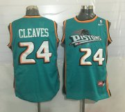 Wholesale Cheap Men's Detroit Pistons #24 Mateen Cleaves Teal Green Hardwood Classics Soul Swingman Throwback Jersey