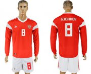 Wholesale Cheap Russia #8 Glushakov Red Home Long Sleeves Soccer Country Jersey