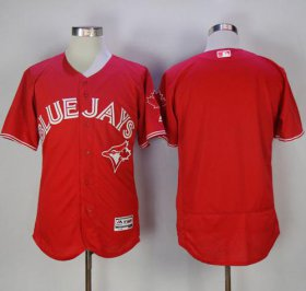 Wholesale Cheap Blue Jays Blank Red Flexbase Authentic Collection Canada Day Stitched MLB Jersey