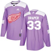 Wholesale Cheap Adidas Red Wings #33 Kris Draper Purple Authentic Fights Cancer Stitched NHL Jersey