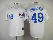 Wholesale Cheap Mitchell And Ness Expos #49 Warren Cromartie White Throwback Stitched MLB Jersey