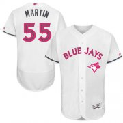Wholesale Cheap Blue Jays #55 Russell Martin White Flexbase Authentic Collection Mother's Day Stitched MLB Jersey