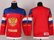Wholesale Cheap 2014 Olympic Team Russia Blank Red Stitched Youth NHL Jersey