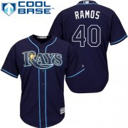 Wholesale Cheap Rays #40 Wilson Ramos Dark Blue Cool Base Stitched Youth MLB Jersey
