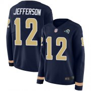 Wholesale Cheap Nike Rams #12 Van Jefferson Navy Blue Team Color Women's Stitched NFL Limited Therma Long Sleeve Jersey