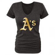 Wholesale Cheap Women's Oakland Athletics Fanatics Apparel Gold Collection V-Neck Tri-Blend T-Shirt Black