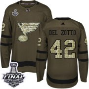 Wholesale Cheap Adidas Blues #42 Michael Del Zotto Green Salute to Service 2019 Stanley Cup Final Stitched NHL Jersey