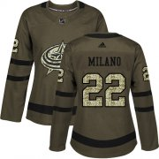 Wholesale Cheap Adidas Blue Jackets #22 Sonny Milano Green Salute to Service Women's Stitched NHL Jersey