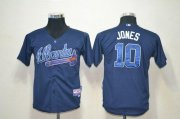 Wholesale Cheap Braves #10 Chipper Jones Blue Cool Base Stitched Youth MLB Jersey