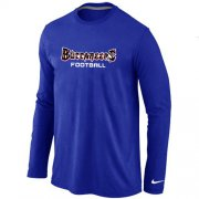 Wholesale Cheap Nike Tampa Bay Buccaneers Authentic Font Long Sleeve T-Shirt Blue