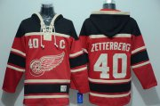 Wholesale Cheap Red Wings #40 Henrik Zetterberg Red Sawyer Hooded Sweatshirt Stitched NHL Jersey