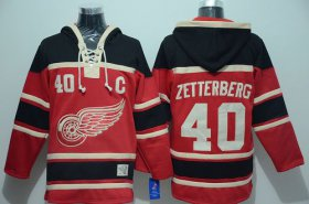 Wholesale Red Wings #40 Henrik Zetterberg Red Sawyer Hooded Sweatshirt Stitched NHL Jersey