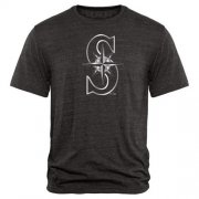 Wholesale Cheap Seattle Mariners Fanatics Apparel Platinum Collection Tri-Blend T-Shirt Black