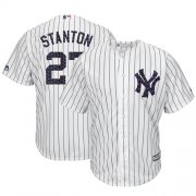 Wholesale Cheap Yankees #27 Giancarlo Stanton White Strip New Cool Base 2018 Stars & Stripes Stitched MLB Jersey