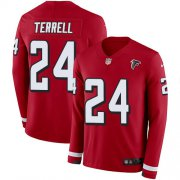 Wholesale Cheap Nike Falcons #24 A.J. Terrell Red Team Color Youth Stitched NFL Limited Therma Long Sleeve Jersey
