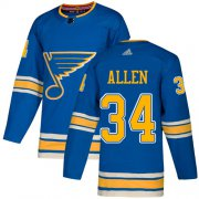 Wholesale Cheap Adidas Blues #34 Jake Allen Blue Alternate Authentic Stitched Youth NHL Jersey