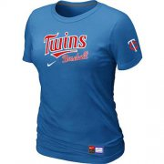 Wholesale Cheap Women's Minnesota Twins Nike Short Sleeve Practice MLB T-Shirt Indigo Blue