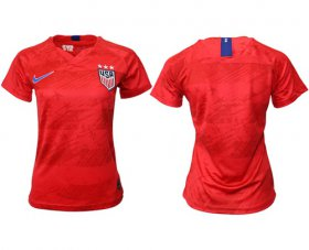 Wholesale Cheap Women\'s USA Blank Away Soccer Country Jersey