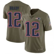 Wholesale Cheap Nike Patriots #12 Tom Brady Olive Youth Stitched NFL Limited 2017 Salute to Service Jersey
