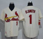 Wholesale Cheap Mitchell And Ness Cardinals #1 Ozzie Smith Cream Throwback Stitched MLB Jersey