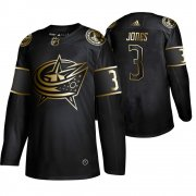 Wholesale Cheap Adidas Blue Jackets #3 Seth Jones Men's 2019 Black Golden Edition Authentic Stitched NHL Jersey