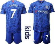 Wholesale Cheap Chelsea #7 Kante Blue Home Kid Soccer Club Jersey