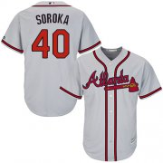 Wholesale Cheap Braves #40 Mike Soroka Grey New Cool Base Stitched Youth MLB Jersey