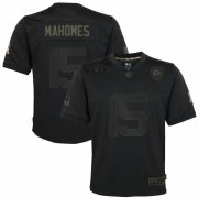 Cheap Kansas City Chiefs #15 Patrick Mahomes Nike Youth 2020 Salute to Service Game Jersey Black