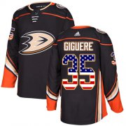 Wholesale Cheap Adidas Ducks #35 Jean-Sebastien Giguere Black Home Authentic USA Flag Stitched NHL Jersey