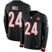 Wholesale Cheap Nike Bengals #24 Vonn Bell Black Team Color Youth Stitched NFL Limited Therma Long Sleeve Jersey