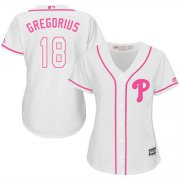 Wholesale Cheap Phillies #18 Didi Gregorius White/Pink Fashion Women's Stitched MLB Jersey
