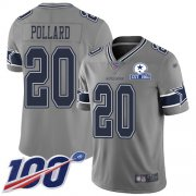 Wholesale Cheap Nike Cowboys #20 Tony Pollard Gray Men's Stitched With Established In 1960 Patch NFL Limited Inverted Legend 100th Season Jersey