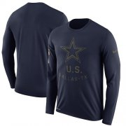 Wholesale Cheap Men's Dallas Cowboys Nike Navy Salute to Service Sideline Legend Performance Long Sleeve T-Shirt
